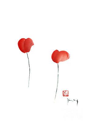 Hearts Flowers Pink Orange Red Heart Flower Giclee Fine Art Print Of Watercolor Painting Poster by Johana Szmerdt