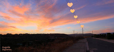 Hearts Sunset Poster by Augusta Stylianou