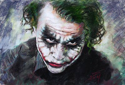 Poster featuring the drawing Heath Ledger The Dark Knight by Viola El