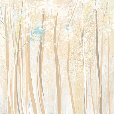 Heavenly Woods- Teal And White Art Poster by Lourry Legarde