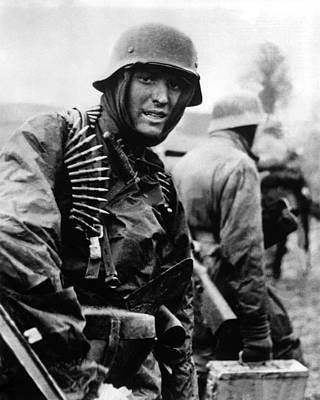 Heavily Armed German Soldiers Advancing Poster by Everett