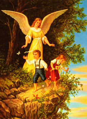Heiliger Schutzengel Guardian Angel 8 Oil Poster by MotionAge Designs