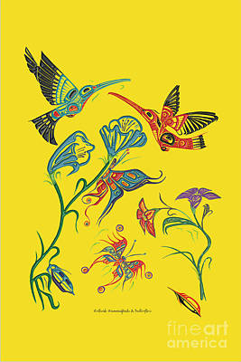 Heiltsuk Hummingbirds Called Sharing The Joy Poster by Fred Anderson jr