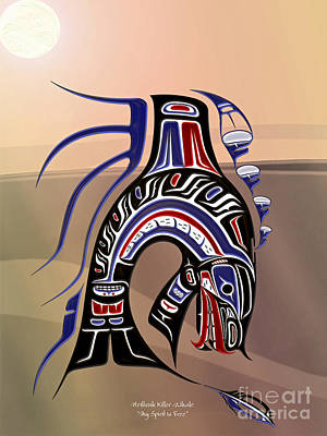 Heiltsuk Killer Whale My Spirit Is Free Poster by Fred Anderson jr