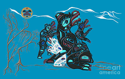 Heiltsuk Spirit Bear Family All That I Am I Owe To My Mother Poster by Fred Anderson jr