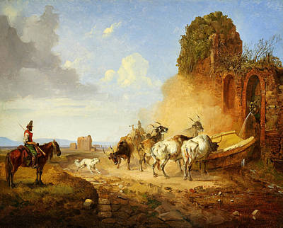 Heinrich Burkel Cattle Watering At A Fountain On The Via Appia A Tiqua Poster
