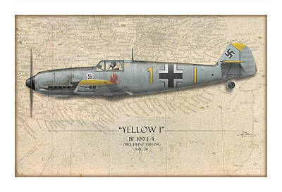 Heinz Ebeling Messerschmitt Bf-109 - Map Background Poster by Craig Tinder