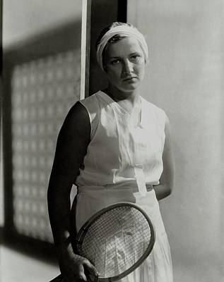 Helen Jacobs Holding A Tennis Racket Poster by Horst P. Horst