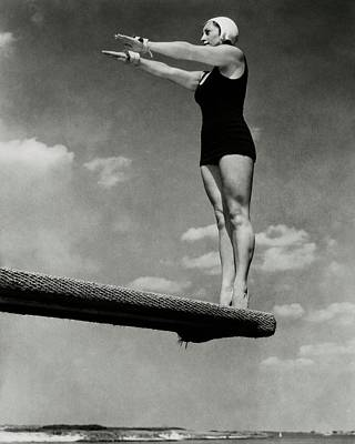 Helen Meany On A Diving Board Poster