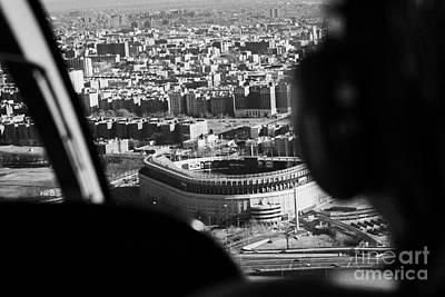 Helicopter  Flies Over Yankee Stadium New York City Poster by Joe Fox