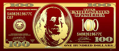 Hello Benjamin - Golden One Hundred Dollar Us Bill On Red Poster by Serge Averbukh