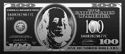 Hello Benjamin - Silver One Hundred Dollar Us Bill On Black Poster by Serge Averbukh