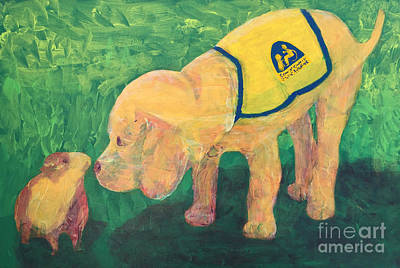 Poster featuring the painting Hello - Cci Puppy Series by Donald J Ryker III