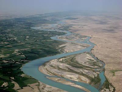 Helmand River Valley Meets Desert Poster