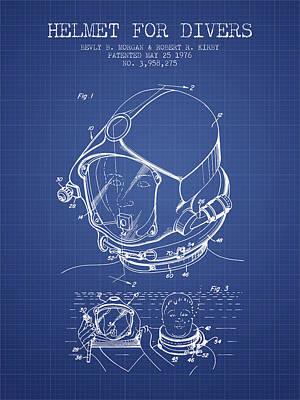 Helmet For Divers Patent From 1976 - Blueprint Poster