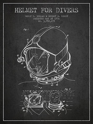 Helmet For Divers Patent From 1976 - Dark Poster by Aged Pixel