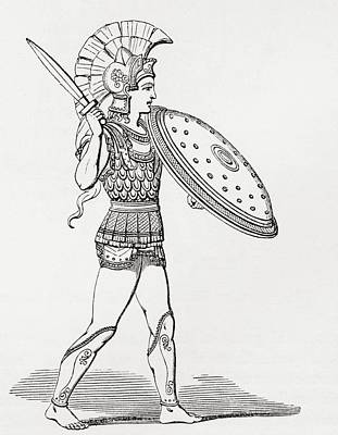 Helmeted Greek Warrior Wearing Greaves And Armour Holding A Clipeus Shield And Sword. From The Poster by Bridgeman Images