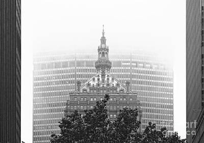 Helmsley Building And Metlife Building In Fog Poster by Nishanth Gopinathan