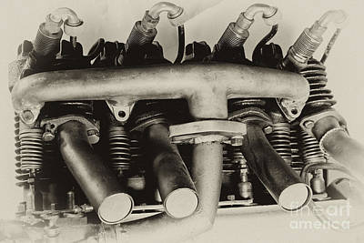 Henderson Motorcycle Engine With A  Heath Parasol Kit  Poster by Wilma  Birdwell