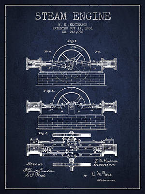 Henderson Steam Engine Patent Drawing From 1881- Navy Blue Poster