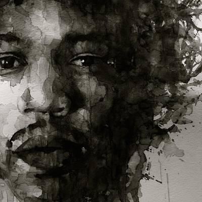 Hendrix   Black N White Poster by Paul Lovering