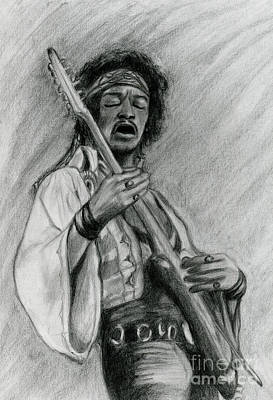 Poster featuring the drawing Hendrix by Roz Abellera Art