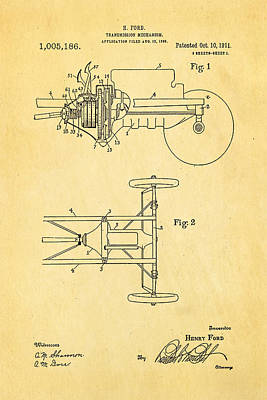 Henry Ford Transmission Mechanism Patent Art 1911 Poster by Ian Monk