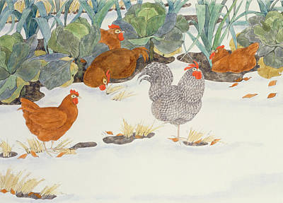 Hens In The Vegetable Patch Poster by Linda Benton