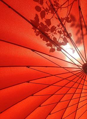 Her Red Parasol Poster by Brenda Pressnall