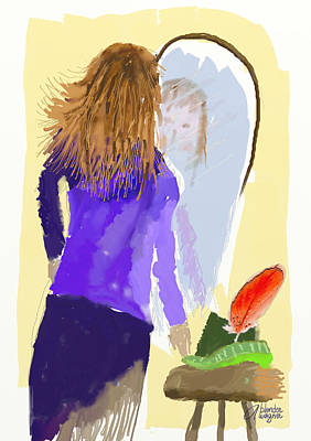 Poster featuring the digital art Her Reflection by Arline Wagner