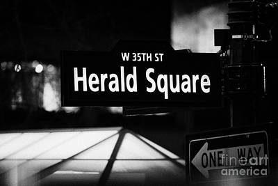 Herald Square West 35th Street Illuminated Street Sign At Night New York City Poster