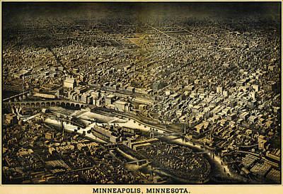 Herancourts Birdseye Of Minneapolis 1885 Poster