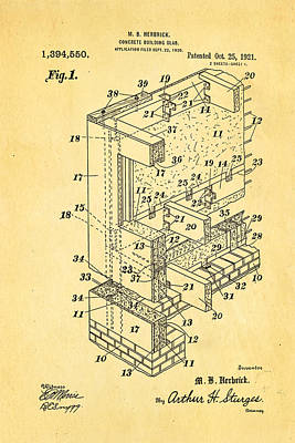 Herbrick Concrete Building Slab Patent Art 1921 Poster by Ian Monk
