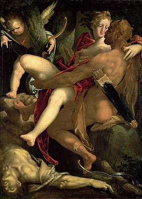 Hercules, Deianeira And The Centaur Nessus, 1580 Poster by Bartholomaeus Spranger