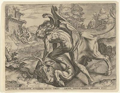 Hercules Wrestles With Achelos, Cornelis Cort Poster by Cornelis Cort And Julius Goltzius