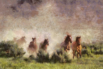 Poster featuring the painting Herd Of Wild Horses by Georgi Dimitrov