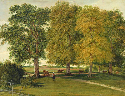 Herder With Cattle Beneath Autumnal Trees Poster