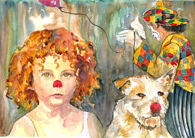 Poster featuring the painting Here Comes The Clowns by P Maure Bausch