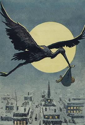 Here Comes The Stork Circa Circa 1913 Poster