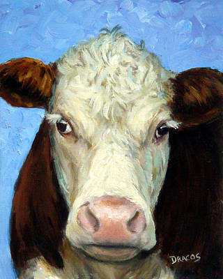 Hereford Cow On Blue Poster by Dottie Dracos