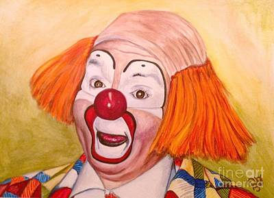 Watercolor Clown #9 Herky The Clown Poster by Patty Vicknair
