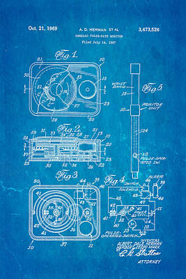 Herman And Marx Cardiac Monitor Patent Art 1969 Blueprint Poster by Ian Monk