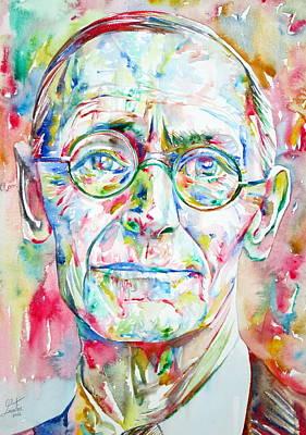 Hermann Hesse Watercolor Portrait.3 Poster