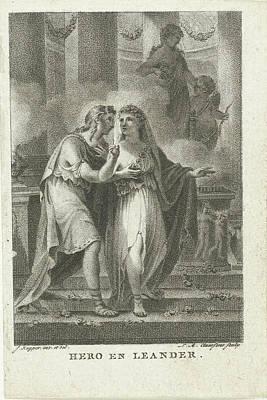 Hero And Leander, Lambertus Antonius Claessens Poster by Lambertus Antonius Claessens