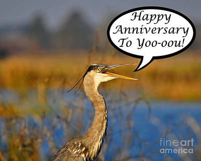Heron Anniversary Card Poster