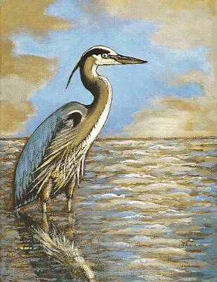 Poster featuring the painting Heron At Bay by VLee Watson