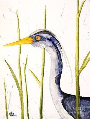 Heron In The Reeds Poster by Alexandra  Sanders
