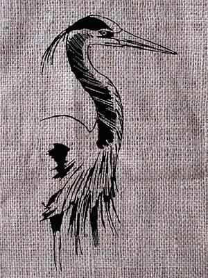 Heron On Burlap Poster
