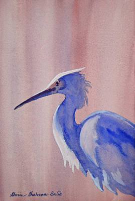 Poster featuring the painting Heron by Shirin Shahram Badie