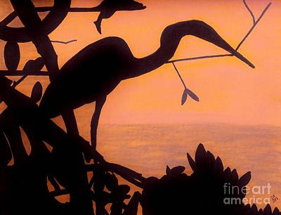 Poster featuring the drawing Heron Sunset by D Hackett